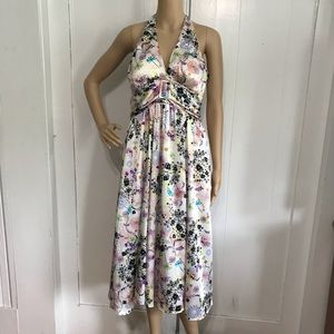 BCBGMaxAzria Satin Floral Halter Dress Large